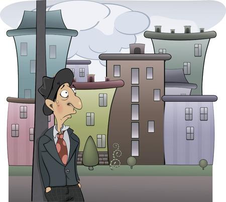 the rabbi: A sad man cartoon