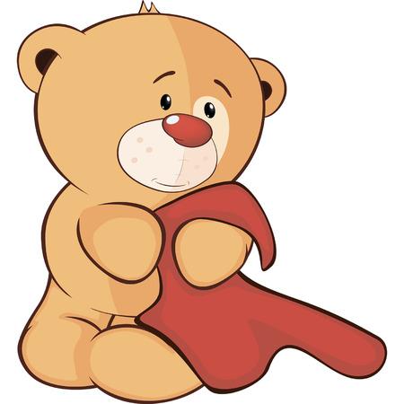 stuffed: A stuffed toy bear cub and a towel cartoon