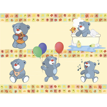 stuffed: Border for wallpaper with stuffed bear cubs Illustration