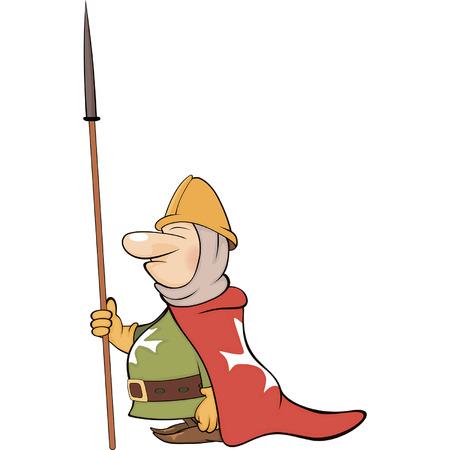 combatant: Illustration of a cartoon knight