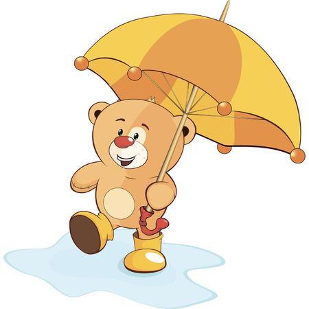 A bear cub and an umbrella Illustration