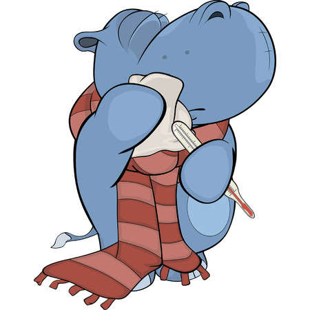 sinusitis: Little hippopotamus. Cartoon