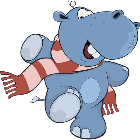 hippopotamus: Little hippopotamus. Cartoon