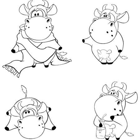 impudent: Happy cows. Clip-Art. Cartoon. Coloring book Illustration