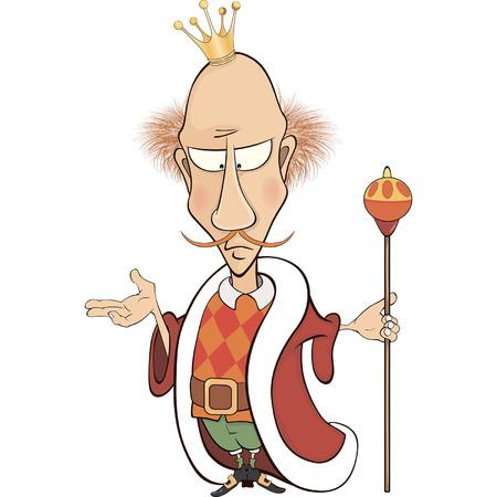 scettro: Un fumetto illustrazione di un re con lo scettro Vettoriali