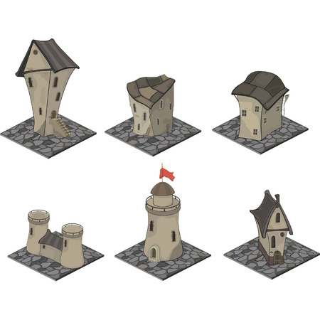A video game objects: medieval building set