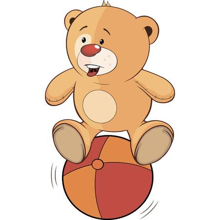 bear cub: A stuffed toy bear cub and a ball