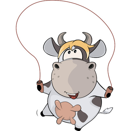 jump rope: A small cow and a jump rope. Cartoon