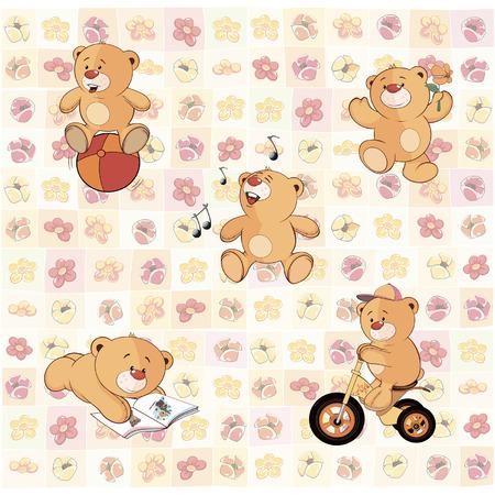 oso caricatura: Fondo de pantalla con los cachorros de oso de peluche Vectores