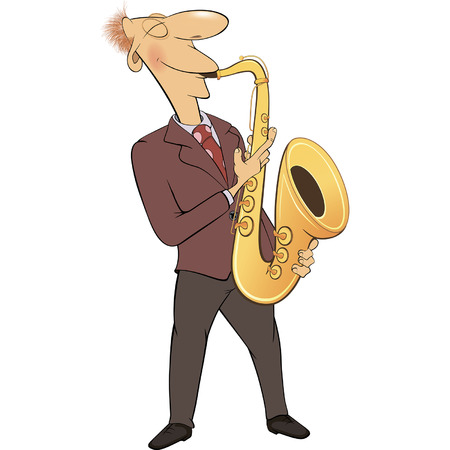 saxophonist: Saxophonist. Jazz musician. Cartoon