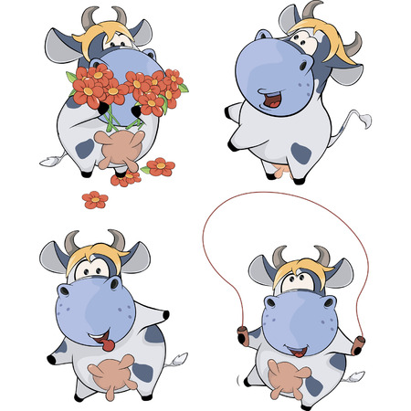 impudent: Happy cows.Clip-Art. Cartoon