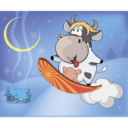 snowboarding: Snowboarding cow cartoon