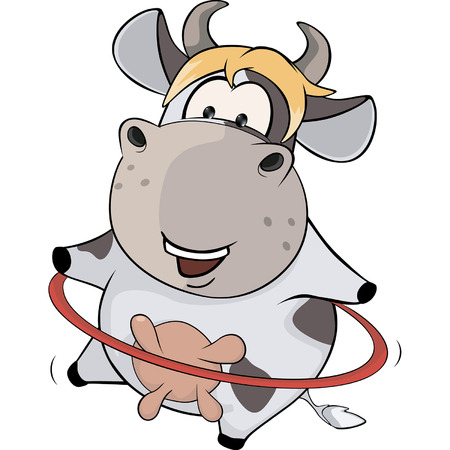 hooves: A small cow and a hula hoop. Cartoon