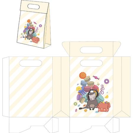 jackass: Donkey birthday. Handbags packages pattern Illustration