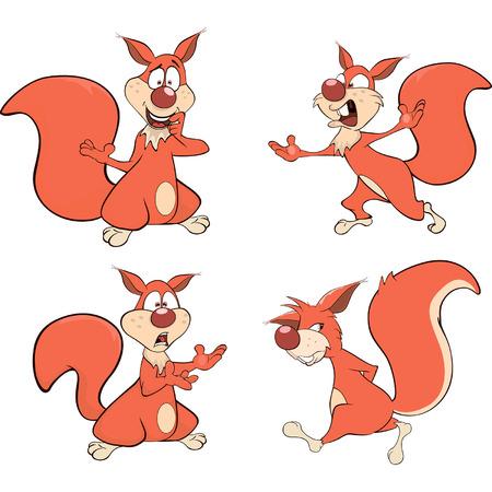 the rascal: Set of squirrels cartoon