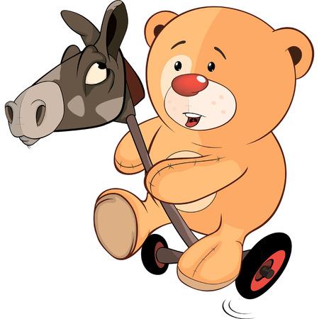 bear cub: A stuffed toy bear cub and a wooden horse cartoon