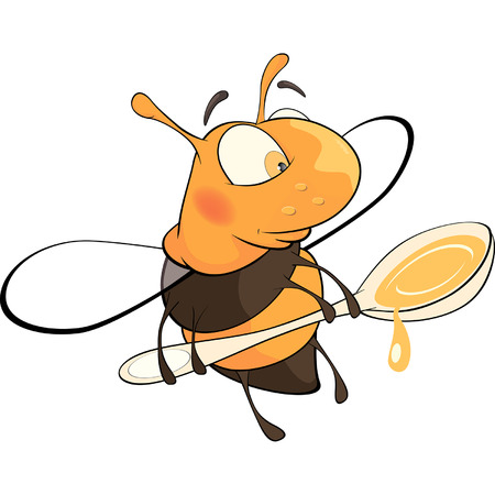 pollinate: a bee with a honey spoon cartoon Illustration