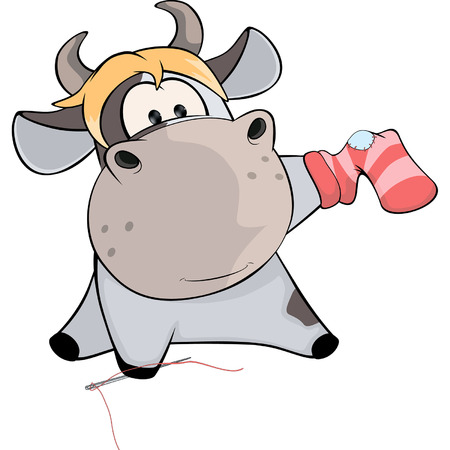 sock: A cow sews a sock. Cartoon Illustration
