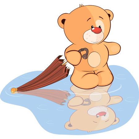 ourson: Un jouet ourson en peluche et un dessin de parapluie Illustration