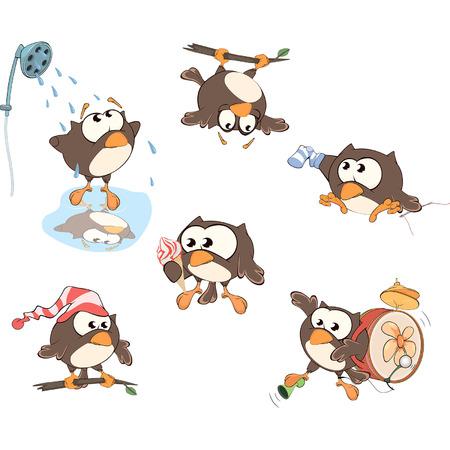Set of cute owls for you design. Cartoon