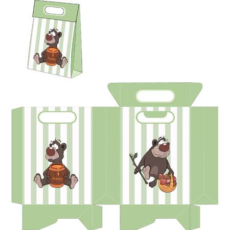 A brown bear. Handbags packages pattern Vector