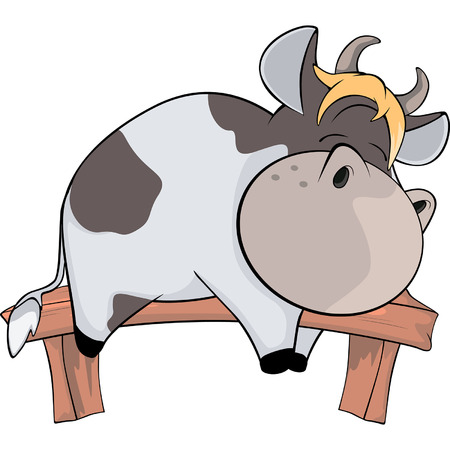 A small cow. Cartoon