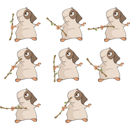 A set of a guinea pigs for a computer game Illustration