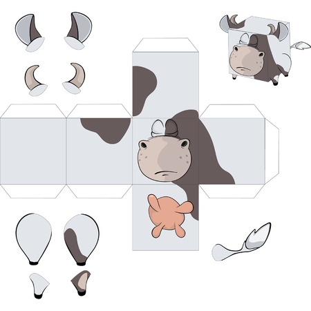 assemblage: A cow cube.Toy for assemblage