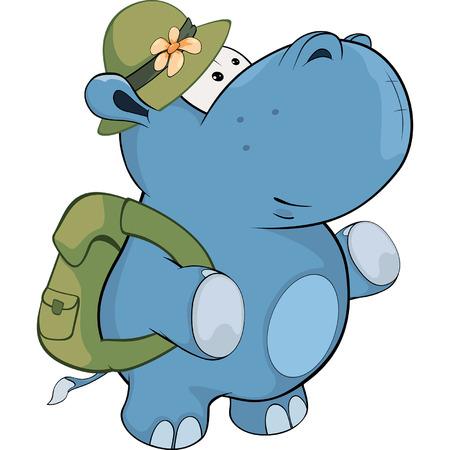 Little hippo. Cartoon Illustration