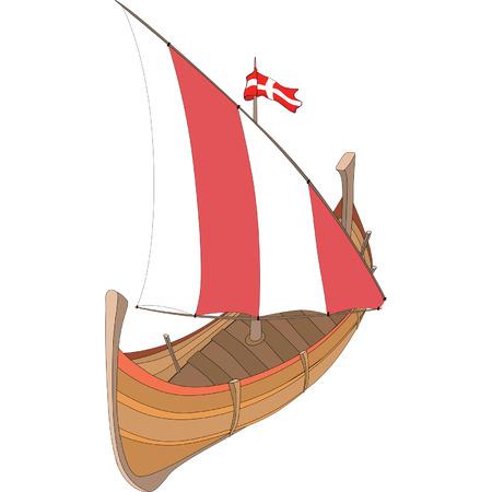 vecchia nave: Illustrazione di una vecchia nave Vettoriali