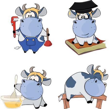ingeniero caricatura: Cows.ClipArt feliz. Dibujos animados Vectores
