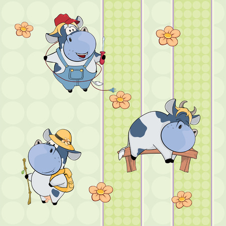 A background with cows. seamless pattern Ilustração