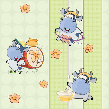 hoop: A background with cows. seamless pattern Illustration