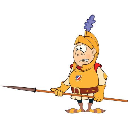 cartoon knight: Illustration of a cartoon knight