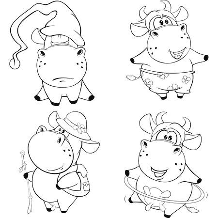 artful: Happy cows Clip-Art Cartoon Coloring book Illustration