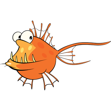 peces caricatura: Rape en aguas profundas de dibujos animados de pescado