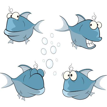 despondency: set of cartoon cute deep-water fish Illustration