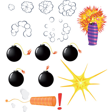 pyrotechnic: Set of explosive pyrotechnic cartoon