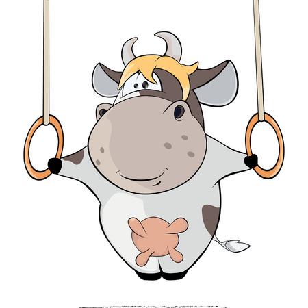 iron cross: small cow performing Iron Cross Cartoon