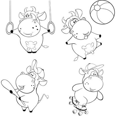 artful: Happy cows. Clip-Art. Cartoon. Coloring book Illustration