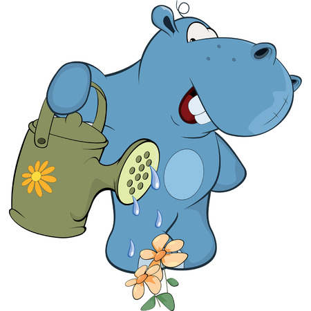 hipopotamo cartoon: pequeño hipopótamo-jardinero de dibujos animados Vectores