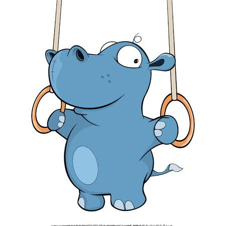 croix de fer: petit hippopotame de bande dessin�e d'effectuer une Croix de Fer