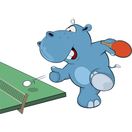 Little Hippo playing table tennis