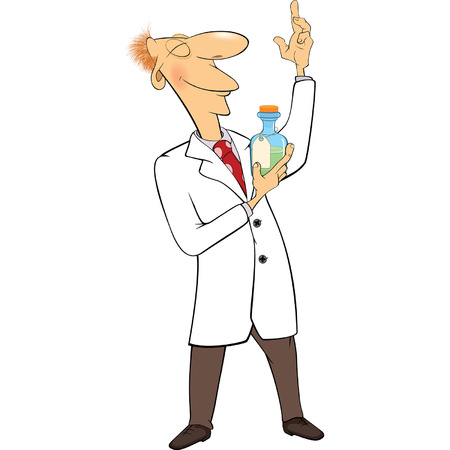 a solution tube: Cartoon illustration of a cute scientist with Mixture Illustration