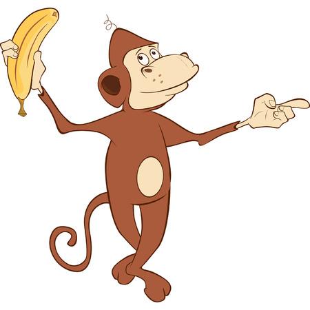 banaan cartoon: Vrolijke aap en banaan. Spotprent