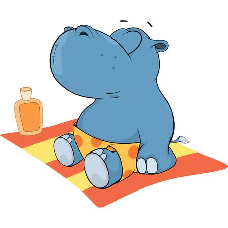 hipopotamo caricatura: Un peque�o hipop�tamo. Cartoon