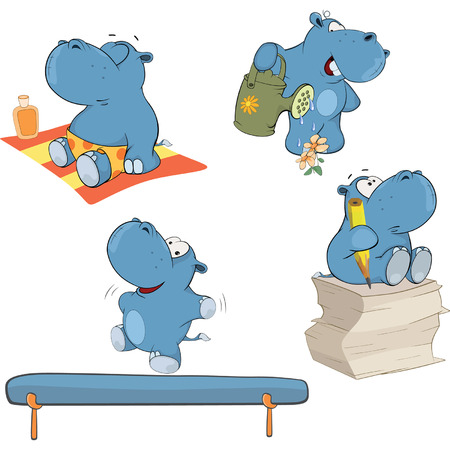 gymnastics: A set of hippos cartoon