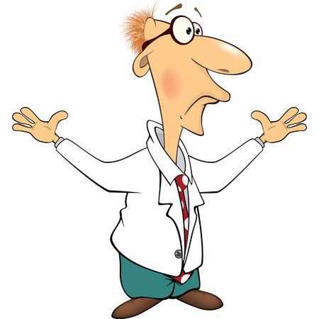biochemist: Cartoon illustration of a cute scientist Illustration