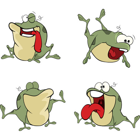 nasty: illustration of a set of cute cartoon green frogs