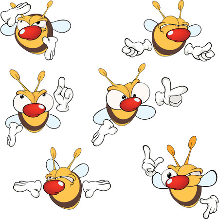 unhygienic: illustration of a set of cute cartoon yellow bees